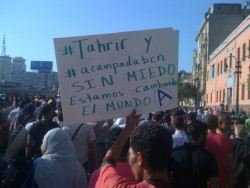 Tahrir Square, Cairo, Egypt: Message of support from Egyptians to Spaniards