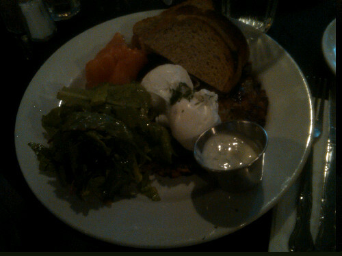 gabylove:  Poached Eggs over Potato Pancakes with Smoked Salmon @ Cafe Orlin on St. Marks. (Sorry for the bad lighting!)