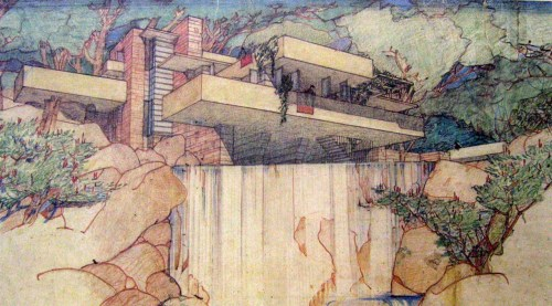 Sketch of Fallingwater (Kauffman House) - Frank Lloyd Wright, 1936