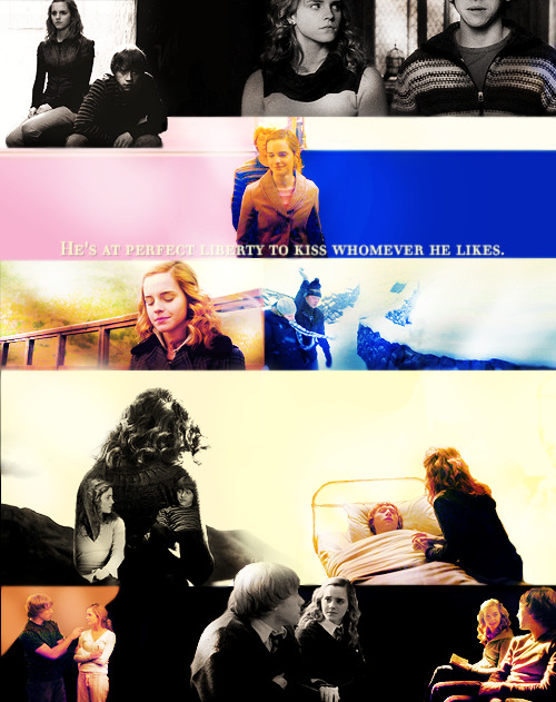 ensanglante:   Ron, he saw, was now holding Hermione and stroking her hair while she sobbed into his shoulder, tears dripping from the end of his own long nose.  The Ron and Hermione yearbook | year six
