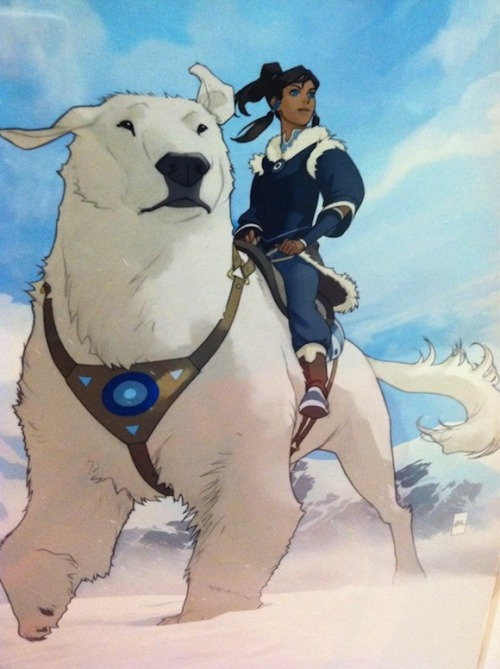 SDCC: Nickelodeon's poster of Korra and her giant, awesome polar dog This was being sold at the Nickelodeon booth, where you can see that Korra, in her own spin-off or sequel to the show Avatar: The Last Airbender gets her own giant polar dog. Cooler than a giant air bison? Maybe. The Last Airbender: Legend of Korra starts next year on Nickelodeon. Via
