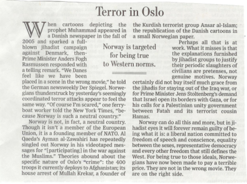 The Wall Street Journal's since-rewritten editorial on the Norway attacks. Saturday, July 23, 2011.