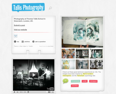 Check out the Tallis Photo blog. We use this in our advanced level photography class to share ideas and resources, post home learning assignments and showcase students' work.