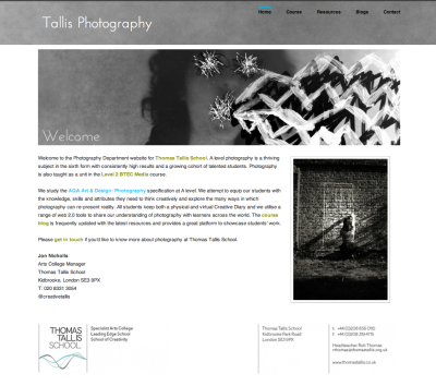 This is the Tallis Photography department website. It contains most of the information our students need to complete their advanced level course.