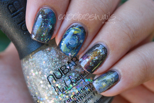 I've been meaning to post galaxy nails for a while! When people ask me for a 'galaxy nail tutorial', I always refer attackedastorianails :) And this actually doesn't take as much effort as you might think; I use a sponge, dabbed on random colors & glitter, drew that little galaxy on the middle finger & finished it off with top coat. It was pretty quick! What I used: OPI - My Private Jet (the base color..this was a gift from Megan! Thanks babes) Forever 21 Love & Beauty - Dusty Blue OPI - DS Extravagance OPI - DS Classic Oops Jealous - Gallexy (I wonder if it was meant to be mispelled, ha) OPI - Skulls & Glossbones Essie - St. Lucia Lilac OPI - Jade is the new Black Sinful Colors - Cloud 9 Some random yellow polish that I can't find right now OPI - Dating a Royal Nubar - Silver Spark (the bottle I'm holding) Seche Vite Top Coat