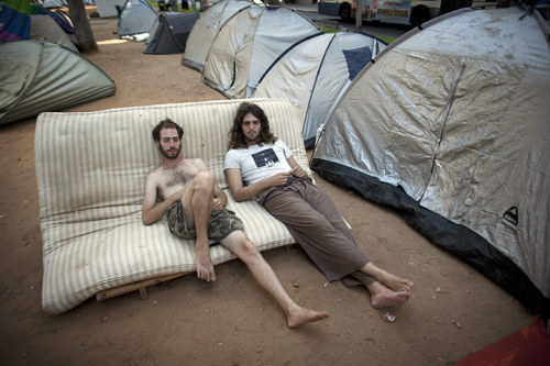 Picture Gallery: Israelis take to the streets in housing protest A tent village has been set up in an affluent part of Tel Aviv in a protest against rising rents and house prices. Similar protests are spreading to other Israeli cities and towns