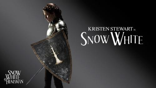 "(via SDCC: First Promo Images for Snow White and the Huntsman! - ComingSoon.net) [Image description: a color-desaturated publicity still, nondescript dark background, ""Kristen Stewart is Snow White"" in uneven white type to the right. To the left… Kristen Stewart is… kind of looking like she wandered off the Minas Tirith set. Large metal shield with a white tree on it, hair braided around her head with tendrils falling in her face, shoulder armor and chestplate, some kind of anticlimactic leggingery.] Huh. I… huh. Well, it doesn't make my eyes bleed like the other one.  Also at the link: Charlize Theron, Chris Hemsworth, and Sam Claflin in costume."