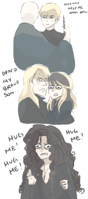 randomsplashes:  Bellatrix wants a hug okay  LOL this is so true. Bellatrix was totally jealous of her nephew (guys, remember she's Dracos AUNT, how weird is that?!?! lol).