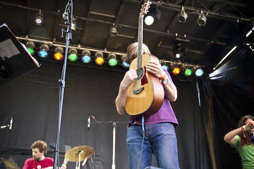 Thurston Moore played at the Capitol Hill Block Party yesterday — he's touring with his new solo album, Demolished Thoughts, and will be leaving a handful of signed records and set lists from the show at Ace Hotel Seattle for a few lucky guns. To win, post a photo or story about Mr. Moore on our Facebook page. We'll let you know early next week how to collect your goods. Ditto for Portland — Thurston and his band play the Aladdin tonight and he'll be leaving more signed ephemera at Ace Hotel Portland. Post away and we'll let you know if you've won.     Photos by Greg Scott