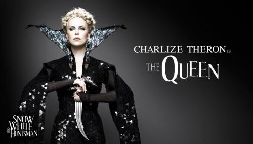 "(via SDCC: First Promo Images for Snow White and the Huntsman! - ComingSoon.net) OH MY GOD TUMBLR JUST ATE MY ENTIRE IMAGE DESCRIPTION so we are going to try this again, in a more orderly fashion: [Image description: Publicity photo, dark nondescript background they just photoshopped in anyway. See also: Kristen Stewart/Snow White post. On the right, uneven white type: ""Charlize Theron is The Queen."" Let's get down to business, which is: the costume. Hair: very pale blond; braided around head in a rough, wispy fashion. Makeup: Silver eyeshadow; otherwise icy and pale, with pale pink lips. Actually, Tilda Swinton as the White Witch was the first thing that came to mind. Collar: High, wide Medici collar, triangular and winged—literally, lined with silvery black feathers. Deep narrow neckline. Gown: Only seen down to the hip, so we have no idea what the skirt looks like. Covered in black triangular spangles that catch the light. Close-fitting and relatively simple. Sleeves: Long medieval-style sleeves, possibly floor-length. Sleeves open at the shoulder and may not open at the ends. The way she's holding her arms, it almost looks kimono-esque, I don't know. Theron is holding up a curved knife, pointed downwards, with both hands, so we see that the undersleeves are semi-sheer, black, and loop over the middle finger. Actually, now that I look more closely, she seems to be wearing finger armor on each index finger as well. START SHOPPING FOR COSPLAY… NOW.] @Movieline: Charlize Theron to Kristen Stewart at the Snow White panel: 'I'm ready for it, bitch. Let's go.' #sdcc"