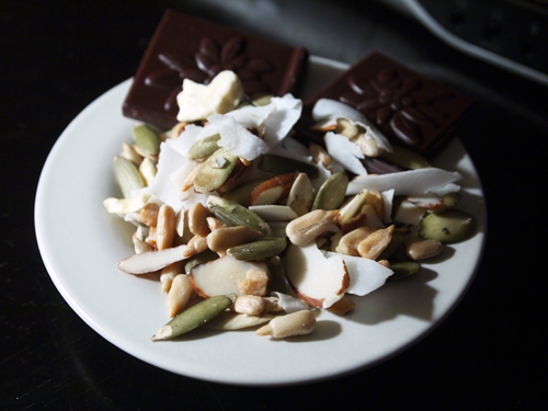 trail mix (coconut, freeze dried banana, pepitas, sunflower seeds, almonds) w/ 72% cacao dark chocolate.