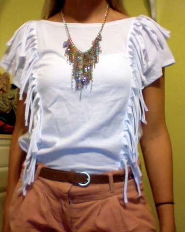 I made this fringe shirt from knit jersey—the same material as a Hanes T-Shirt, basically. It's a great day shirt, but I wish I had made it in a fun color. Oh well, white shirts are essential. Enjoy!