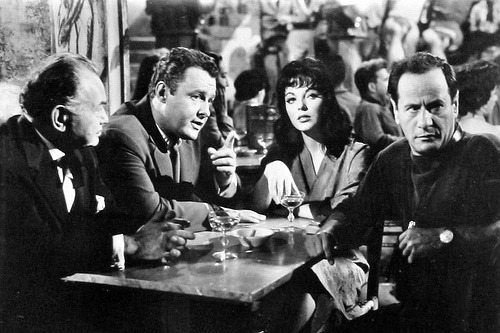 Edward G. Robinson, Rod Steiger, Joan Collins and Eli Wallach (Seven Thieves) (by Greenman 2008)