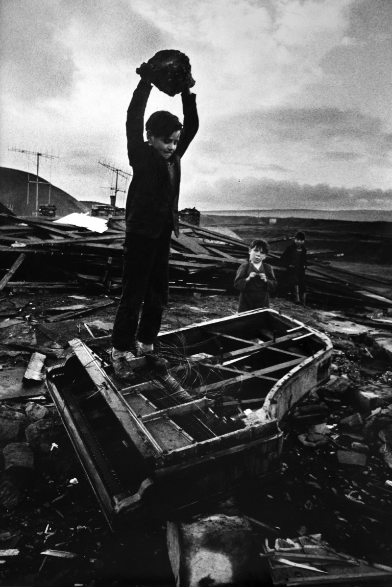 avanishedtime:  Philip Jones Griffiths - Boys Breaking Piano in South Wales Village, 1961
