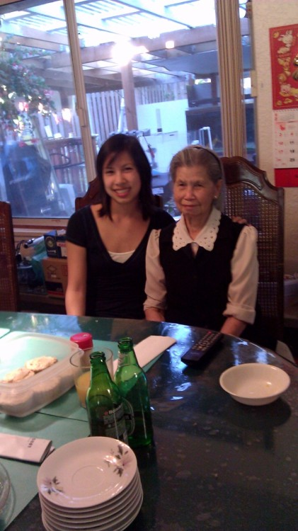 My lovely cousin with our grams on her birthday… Aww :')