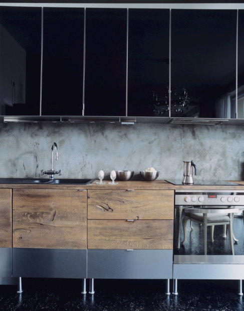 Urban rustic kitchen with a hint drama.