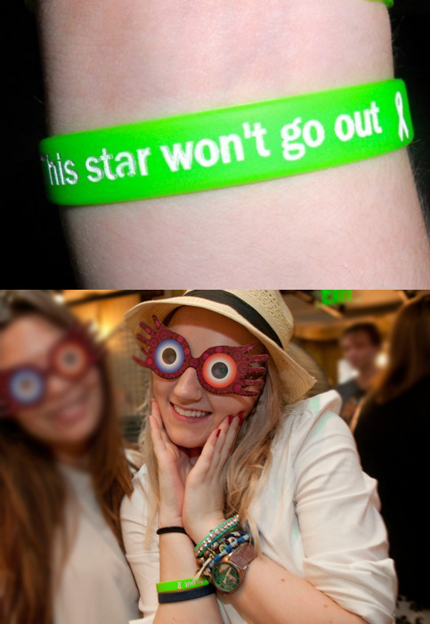 Evanna wore a This Star Won't Go Out bracelet while touring the Wizarding World of Harry Potter.This Star Won't Go Out was founded in 2010 to help families struggling  through the journey of a child living with cancer. TSWGO's  goal is to carry a bit of that burden for hurting families through  financial gifts. TSWGO was established in memory of  16-year old Esther Earl, an avid Nerdfighter and passionate Harry Potter  Alliance fan. With the goal of  never letting her Star go out, TSWGO will also be funding occasional  projects that fit Esther's quirky, compassionate life vision.This Star Won't Go Out Bracelet - $5.00