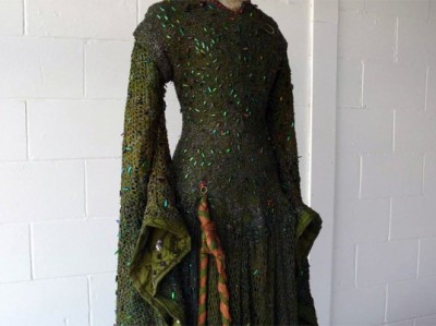 Lady Macbeth costume, c. 1888, adorned with thousands of jewel beetle wings.