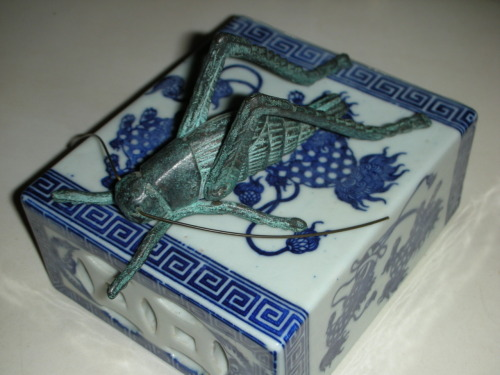 Grasshopper on a Japanese Blue White Porcelain Pillow