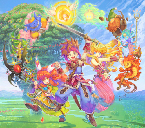 "godheadnee:  my childhood: me and my brother 2p-ing Secret of Mana grinding magics in the ice forest, stopping by, saying whatup to Santa.  We were never the MC, he was the sprite and I was the girl.Although to be honest I still don't quite understand why whenever the sprite summons the spirits their palette is a shade darker than the girl's version.  I just think the palette difference is because the sprite uses ""black magic"" compared to the girl's ""white magic""! Sort of a small, cosmetic touch, or something."