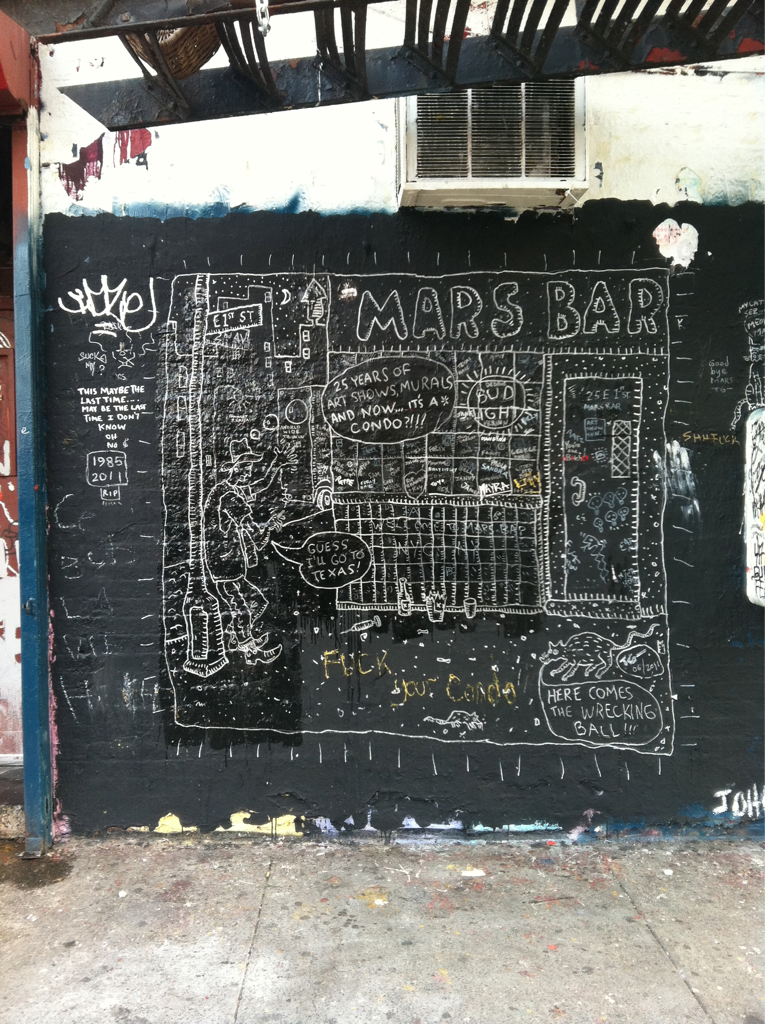 The mural on the side of Mars Bar. The legendary dive bar closed a couple of weeks ago to make room for another fucking condo.