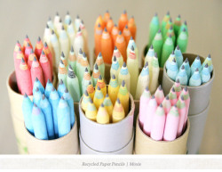 Colorful Recycled Paper Pencils from Moxie. Wouldn't they be so charming as favors at a party for both kids and grownups alike? Love it!