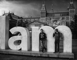 me and two friends in Amsterdam(I'm the one on top of the A)