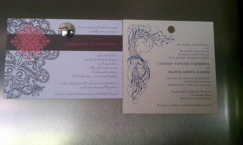 My bridal shower invitation and wedding invitation. Surreal. Still. Ah.