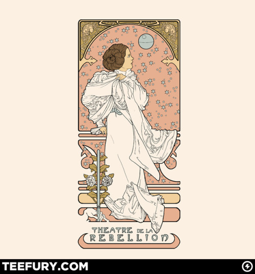 "Alphonse Mucha's ""La Dame Aux Camelias"" meets Princess Leia, by artist Karen Hallion. Oh, TeeFury, you know exactly how to win me over. I won't even bother hesitating."
