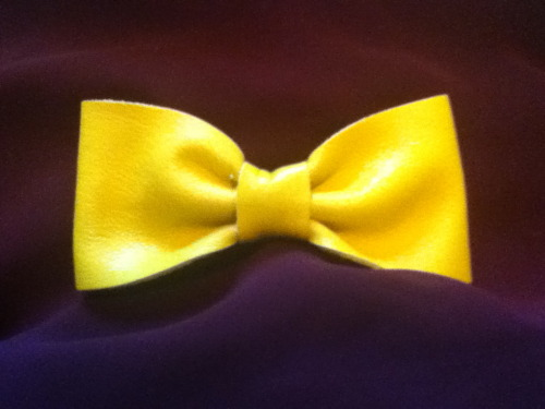 Bow #9: The Yellow Leather Bow. I think this one is my favorite so far!