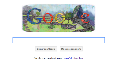 Anyone who uses Google in Peru today will see an artistic rendering of Machu Picchu in the background on the Google homepage—today is the 100th anniversary of the discovery of Machu Picchu!! One of Peru's most recognizable monuments, it is in Cusco, Peru, which we will be visiting in two weeks' time! Use http://www.google.com.pe/ today and click on the graphic above to learn more about Machu Picchu. Plus, Google has made the option of searching in Quechua available. Quechua is the language of the indigenous people in Peru, and is still spoken in many regions. However, it is in danger of becoming extinct, as are the traditions of the Quechuan culture. Andres and I have made it our summer/winter's resolution (depending on what hemisphere we're in as we travel back and forth from Peru to the U.S.) to learn Quechua. If you're curious to see what it looks like, or want to learn it yourself (it beats Pig Latin for those conversations you don't want overheard) click on the hyperlink below the search tool bar! Allinllaña*, S&A *Goodbye in Quechua