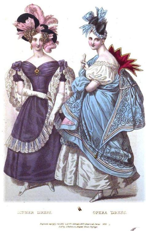 Lady's Magazine, November 1830. Holy cape!  Look at that thing!  Crazy-colored lining, amazing Van-Dyked collar, cool trim.  I want it!