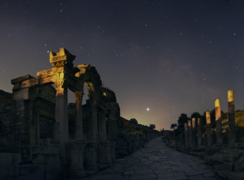 harvestheart:  Jupiter over Ephesus - NASA photos A brilliant Jupiter shares the sky with the Full Moon tonight. Since Jupiter  is near opposition, literally opposite the Sun in planet Earth's sky, Jupiter will rise near sunset just like the Full Moon. Of course, opposition is also the point of closest approach, with Jupiter shining at its brightest and offering the best views for skygazers.
