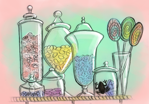 "Day 10: Favorite shop. Honeydukes (this illustration is based on the ""real life"" one at the Wizarding World of Harry Potter) View all posts for the HP Challenge!"