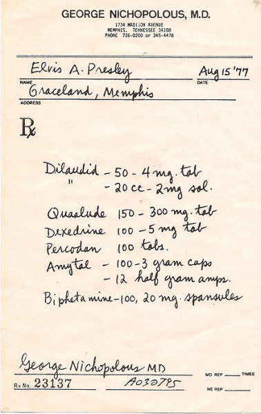 This is the last prescription written out to Elvis only a day before his death. It was these drugs along with many others (Elvis's autopsy revealed he had over 10 prescription drugs in his system) that would eventually lead to his death on the 16th of August, 1977. While the miligram amounts look tame, keep in account how many of these pills he would be taking, literally dozens at a time,  and I also believe that he had another doctor giving him prescriptions as well.