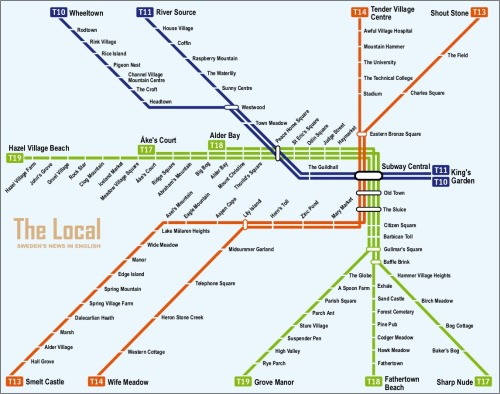 limpus:  Swedish subway stations, translated directly into English. ^^