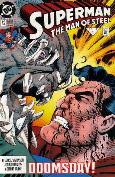 "Superman: The Man of Steel #19, ""Doomsday 6 of 7: Doomsday Is Here!,"" January 1993, written by Louise Simonson, penciled by Jon Bogdanove Superman and a ton of supporting Metropolis heroes try to stop Doomsday and, duhsville, fail. What the 27 year old thinks: First big misstep in ""Doomsday."" Filler, lackluster, confusing, boring, just not as much fun to read as the first few chapters. Plus it doesn't help that a ton of weirdo characters pop up in this issue with no explanation as to who any of them are. It seems like Simonson was dead set to continue her own plotlines in the midst of this crossover, so we get a ton of (what I'm assuming are) her supporting players…but they do nothing. I don't know who they are, I don't know why Doomsday is fighting them, I don't know what their powers are, and nothing outside of the Doomsday fight happens. These characters are just superficially keeping up appearances. Also, Supergirl is a clayfaced purple/gray alien? What the 8 year old thinks: He was so pumped for this and it let his little heart down. The fighting was cool (SUPERMAN IS BLEEDING!!) but he doesn't know who anyone in this comic is. Harumph. Verdict: ""If I had a magic lamp, I'd wish that this issue was better!!"""