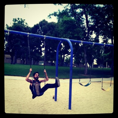 givin' birth on a swing.