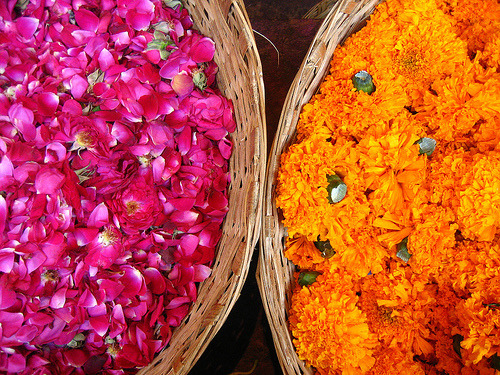 Roses and Marigolds for sale in Phool Bazar, Buleshawr.