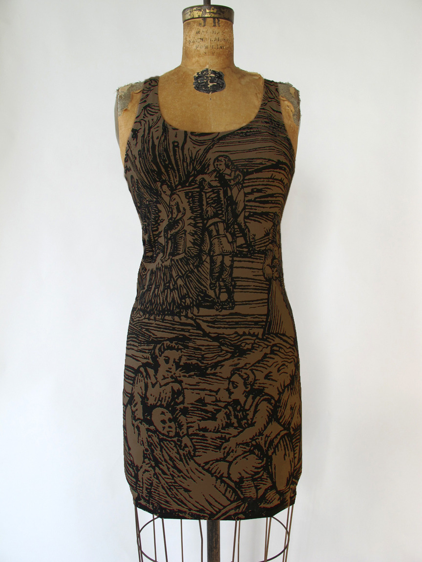 NEW copper witch bandage dress! @ http://www.etsy.com/listing/78431099/woodcut-witch-bandage-dress-in-copper
