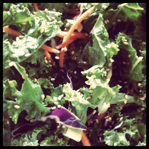 Kale salad with roasted sesame seeds and fresh lemon juice