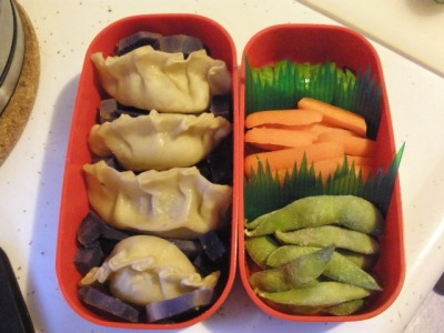 Hamburger potstickers! This was one of my most ambitious lunches yet - everything, including the wrappers are homemade. Wrappers made using this recipe, and instead of a traditional potsticker/gyoza filling, I was inspired by this recipe for cheeseburger dumplings. The filling was made with ground beef, sauteed onions & mushrooms, parsley, pepper, a mix of chili salts, and mustard. Wedged between them are pieces of steamed purple sweet potatoes. Second tier includes the usual veggie suspects.