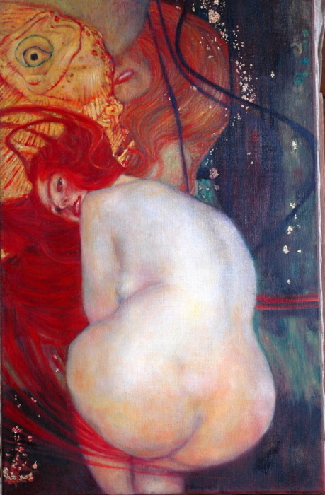 for-redheads:  Gustav Klimt, Goldfische (detail) 1901 room42:  If you are the amber mare               I am the road of blood(Image Courtesy…)