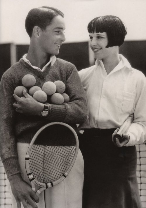 Louise Brooks and her brother, with rackets and lots of balls. I don't know about her brother. But, man, I love Louise Brooks. One of my all-time favorites. via lucetteveen  Turns out there's a Louise Brooks Society online, as really really should be. Jesus, who knows, there's probably a Foster Brooks Society, somewhere out there, too. That joke was exclusively for Sean.