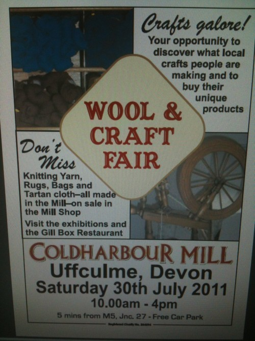 Wool and Craft Fair, July 30th 2011 	I shall be there with a small selection of fibres, yarns and kits. I will be deomnstrating spindle spinning, so come and check it out!