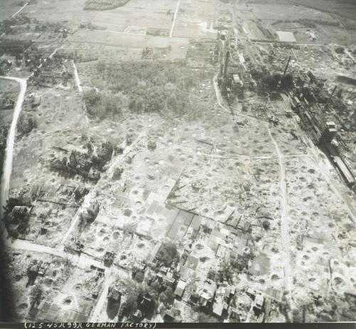 allied bombing of German factory, 1945