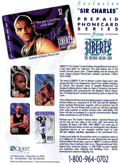 Charles Barkley Prepaid Phone Cards circa 1995