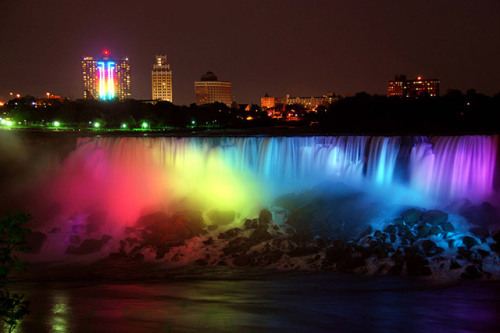 Niagara Falls goes rainbow in celebration of first same-sex marriages in New York.