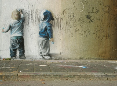 cute. graffiti children… drawing some graffiti.