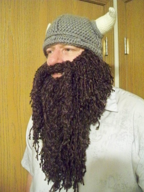 ianbrooks:  Crocheted Wizard Beard and Viking Hat by Cynthia Stenquist Unfortunately, both items sold separately at etsy, but purchase both and you can fulfill your Viking/pirate/wizard/dwarf/God fantasies!   (thanks to pacalin for the heads up, a true lover and purveyor of all things beard-y)